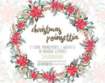 Nochebuena Arreglos Flores Clipart Para Navidad Florales Etsy