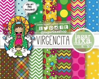 Papel Digital Dibujo Virgencita Maria Bautizo Colores Pastel Etsy