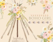 Teepee, Tipi and floral Watercolor clipart, PNG, wedding, bouquet, arrangement, digital art, pink flowers, bridal shower, for blog banner