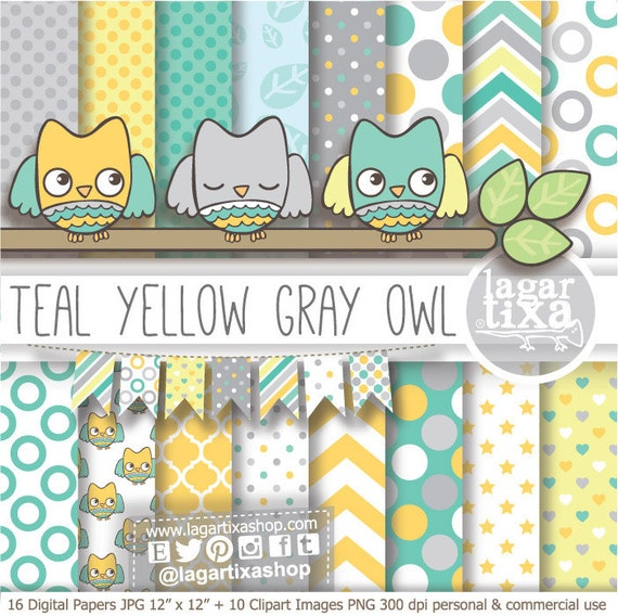 Digital Paper And Baby Shower Clip Art Boy Cute Owl Banner Etsy