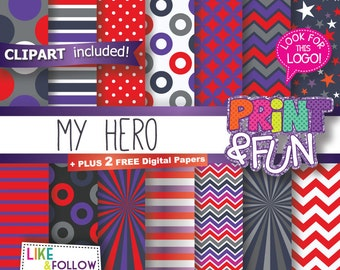Digital Paper Patterns Backgrounds Scrapbooking, Red, Purple, Gray, Grey, Polka dots, Chevron, Stripes, Stars, Comic