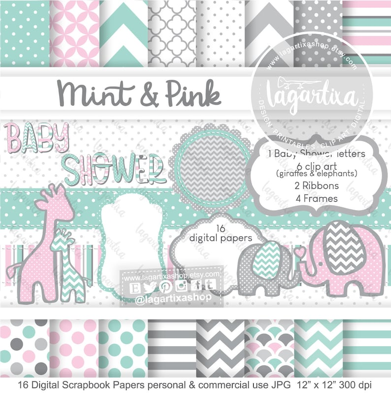 Pale Pink Mint Gray Elephants Giraffe Digital Papers and image 0