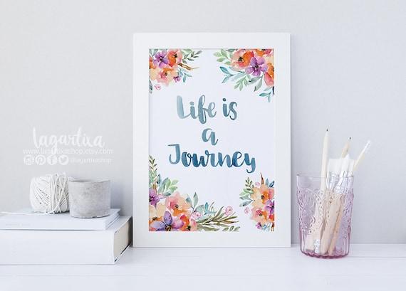 Life Is A Journey Frases Para La Casa Decoración Cuadros Acuarela Tropicales Flores Lettering Rosas Interiores Hecho A Mano