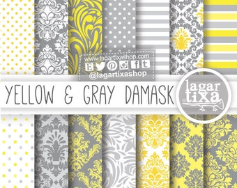Yellow and Gray Grey Damask Digital Paper Patterns for invitations scrapbook blog backgrounds labels toppers candybar