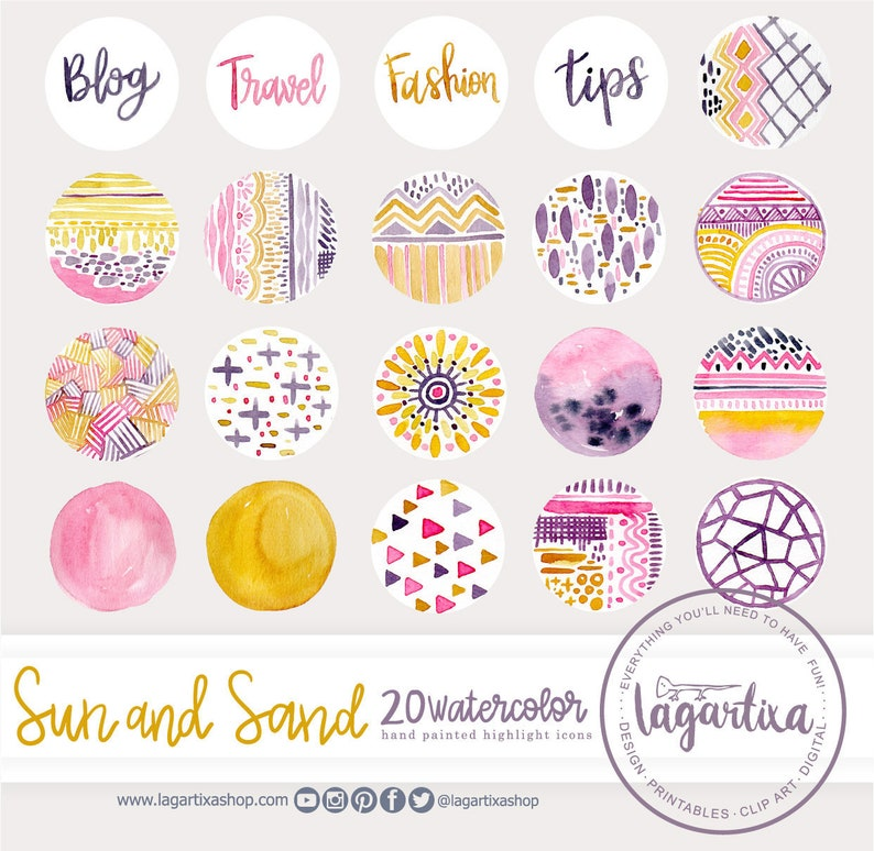 Abstract Buttons Autumn Fall Watercolor story highlight icons image 0