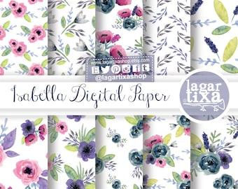 Purple Indigo Pink Real Watercolor Roses, Hand Painted, Modern Design Digital Paper, Art Florals Patterns, wedding backgrounds, Floral Print