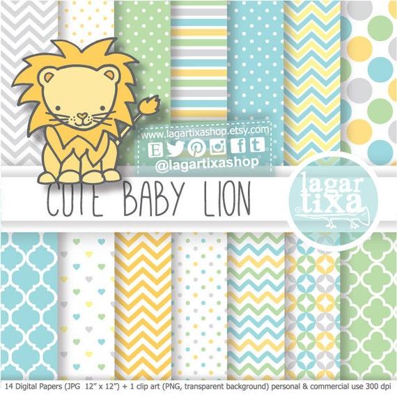 León Papel digital fondos baby shower niño bebé amarillo gris