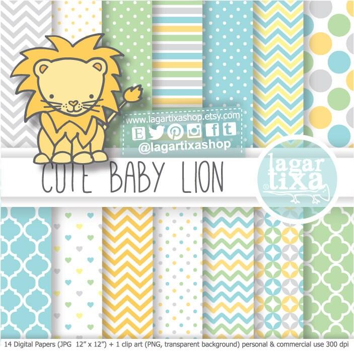 León Papel digital fondos baby shower niño bebé amarillo gris | Etsy