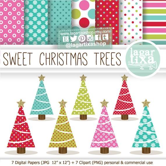 Navidad Arboles Pinos Clipart Papel Digital Fondos Rosa Verde Etsy