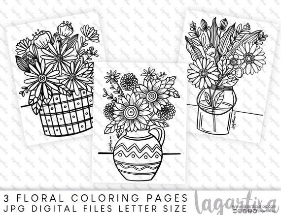 3 Printable Digital Sheets Hand Drawn Designs Spring Easter