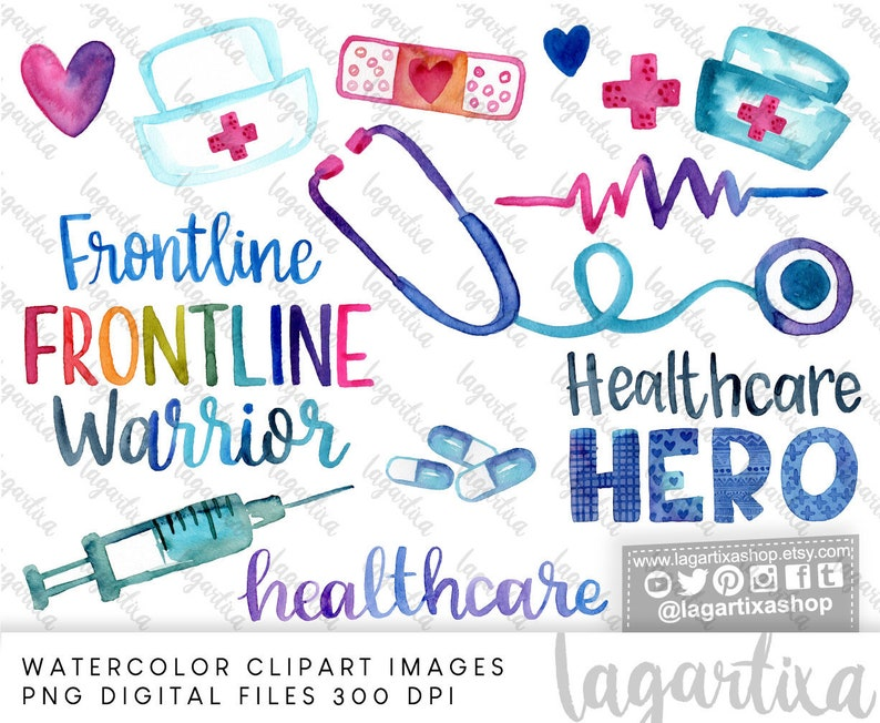 Nurse Doctor Sublimation PNG watercolor Design Clipart image 0