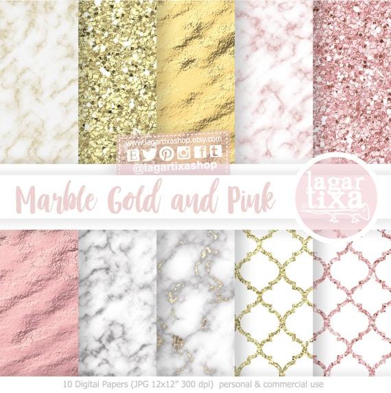 Invitaciones de boda de oro Rosa en Blanco y efecto de impresión de mármol paquetes de 10