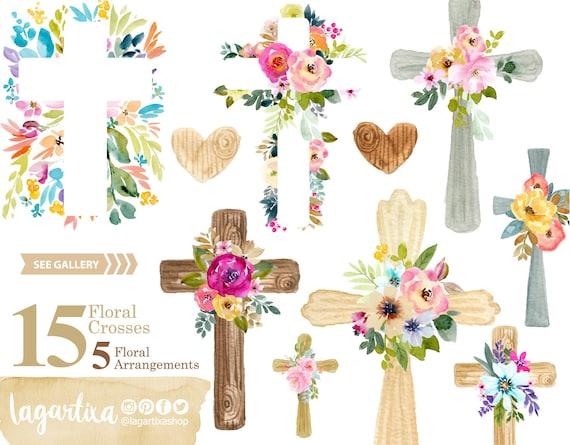 Clipart Acuarela Png Cruces De Madera Flores Eventos Etsy