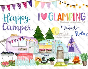 Glamping Camping Vintage Camper Watercolor clipart PNG caravan love to travel teepee wood fire for sublimation parties, cardmaking, planners