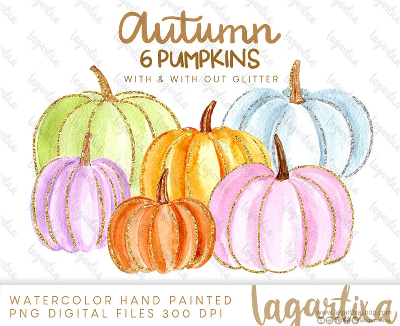 Watercolor Colored Pumpkins Clipart PNG Pastel colors and image 0
