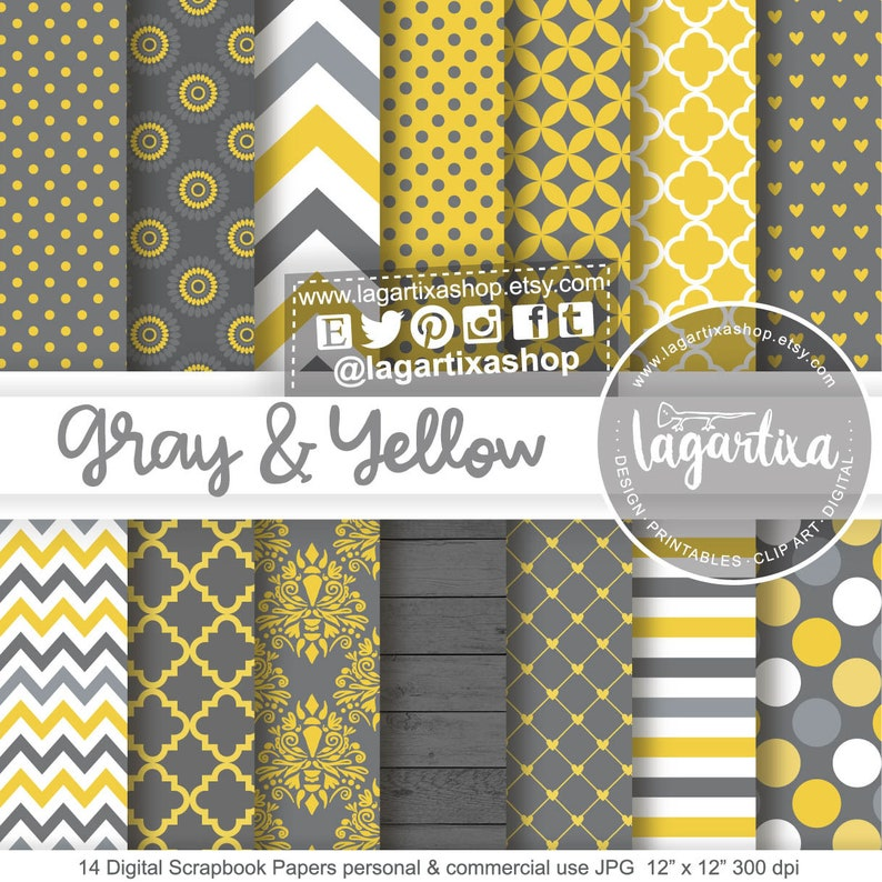 Dark Gray Yellow Digital Papers Patterns Damask Large Small image 0