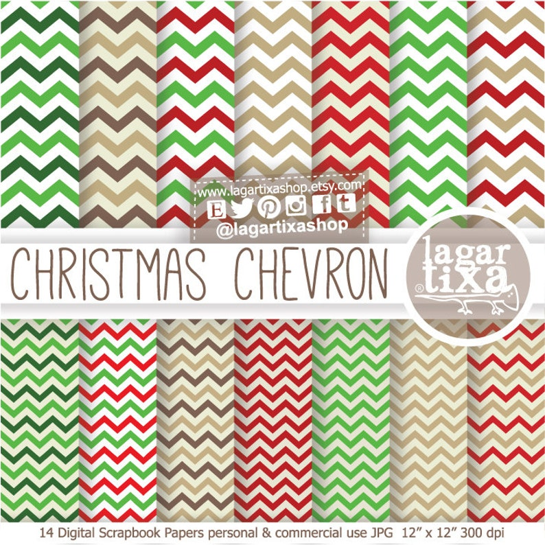 Christmas Chevron Red Green Beige Brown Basics for invitations image 0