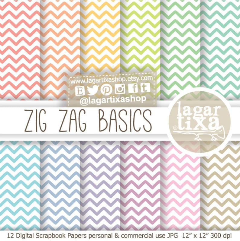 Zig Zag Chevron Pastel colors Digital Paper Patters blog image 0