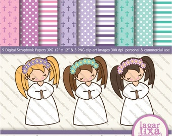 Purple Pink teal acqua turquoise Digital Paper clip art girls praying first communion background  patterns crosses polka dots invitations