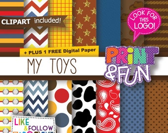 Farm Digital Paper, Western, Cow Print, Denim, Animal Print, Wild West, for party printables, scrapbooking, chevron, bandana, jeans texture