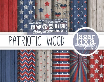 Wood Digital Paper Backgrounds America Independence Day 4th of July Patriotic Colored Stars Stripes red scrapbooking invitations patterns