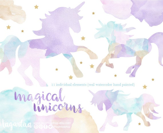 Unicorn Princess Clipart. Pink purple unicorn headpiece | Etsy