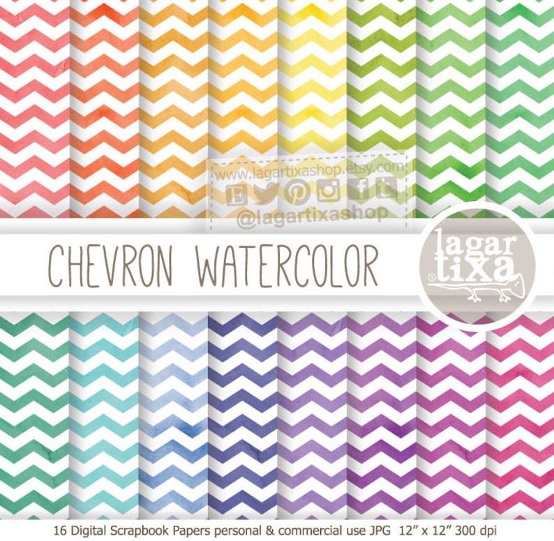 Digital Paper Texture Watercolor & Chevron Pattern rainbow image 0