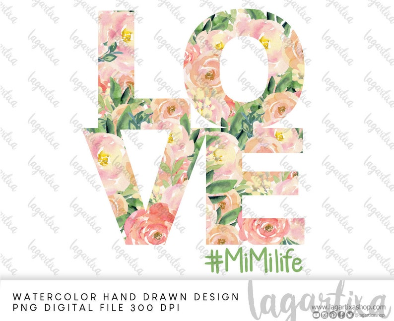 LOVE Mimi Life Sublimation images Watercolor Shabby Chic Roses image 0