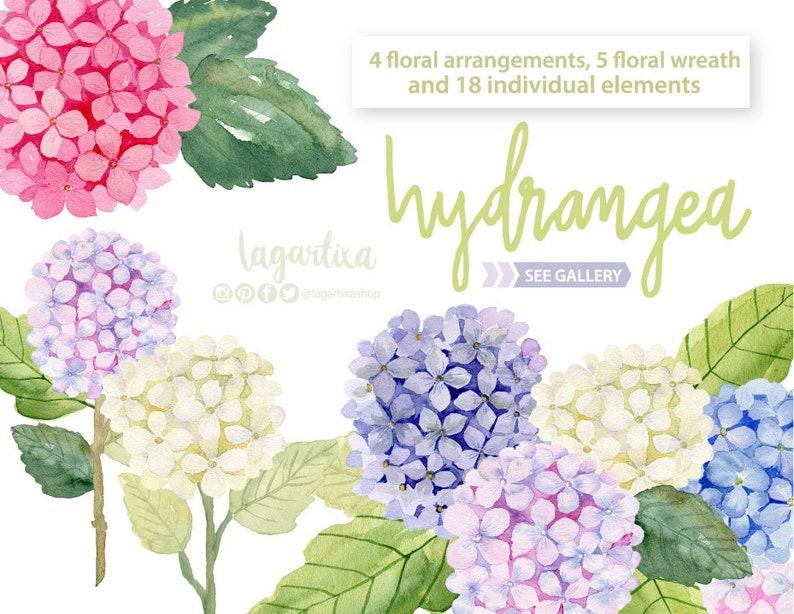 Flores Hortensias En Acuarela Arreglos Florales Corona De Etsy