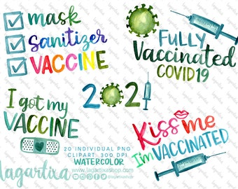 Fully Vaccinated Pandemic Vaccine mask PNG Bundle Watercolor Modern Lettering Virus Syringe Covid Corona Clipart Sublimation Images Designs