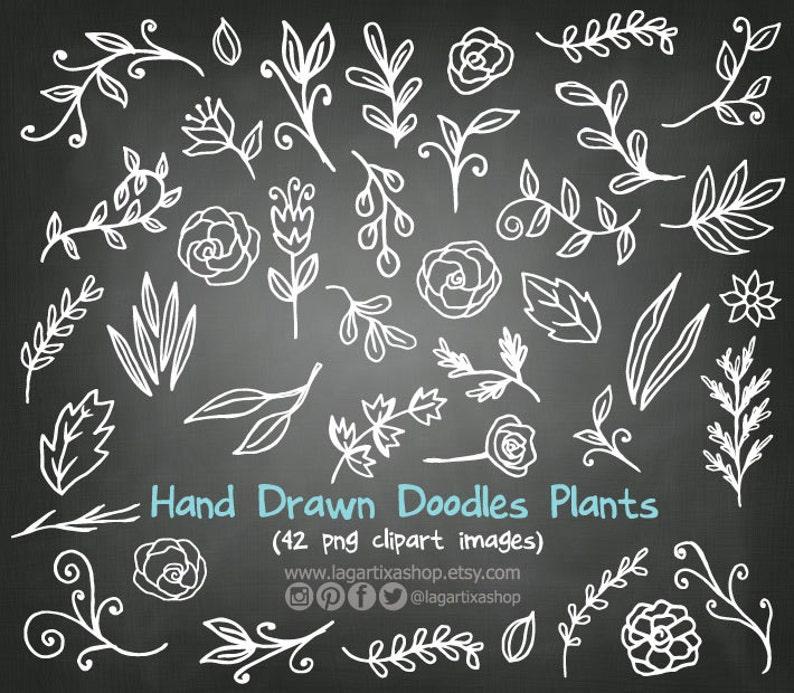 Dibujos Hechos A Mano De Ramitas Flores Hojas Blancas Etsy