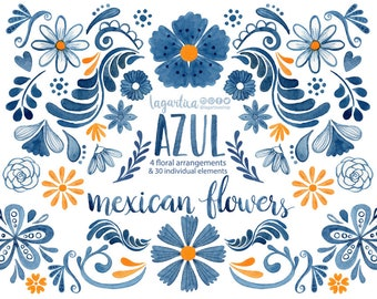 Mexican Blue Watercolor Floral clipart, PNG, mexican party, flowers, folk clip art, hand painted, cinco de mayo, cobalt, mexican crafts