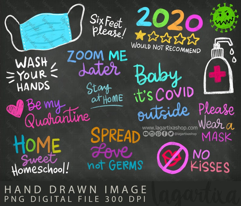 Quarantine Chalk Overlays Funny Quotes Stay 6 feet away St image 0