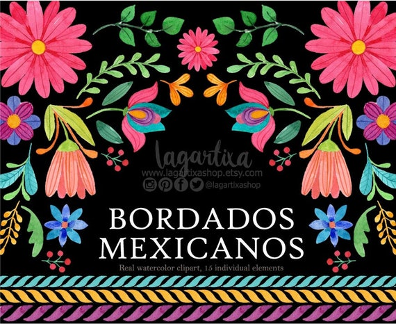 mexican watercolor floral clipart png mexican party etsy