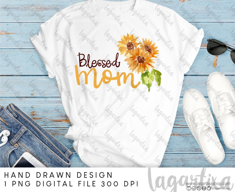 Blessed Mama Sublimation PNG Image Sunflowers Summer image 0