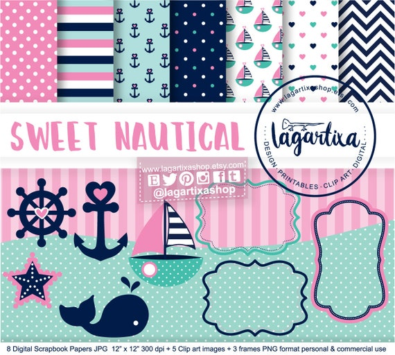 Pink Nautical Digital Paper Navy Teal Marine Turquoise Girly Etsy