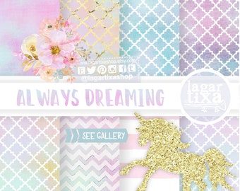 Glitter and Watercolor Unicorn floral Clip art, Whimsical, rainbow,  hand painted, mint, purple, pink, blue, gold, girly party,