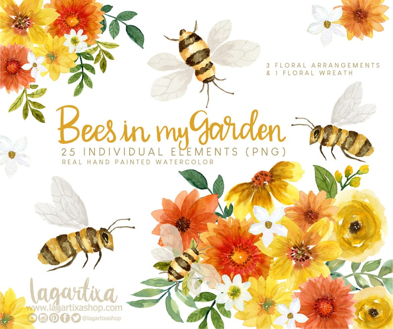 Queen Bee Watercolor clip art Yellow black white Bumble Bee image 0