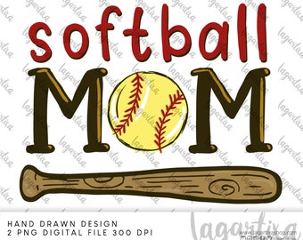 Softball MOM Cheers Team, Ball design art PNG Sublimation Design Hand Drawn   Digital Download for heat transfer, gifts ideas Printable Art
