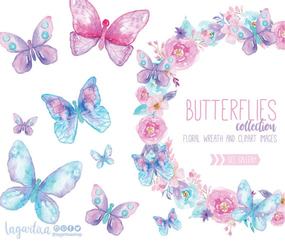Watercolor Butterflies Clipart Butterfly Png Floral Wreath Etsy