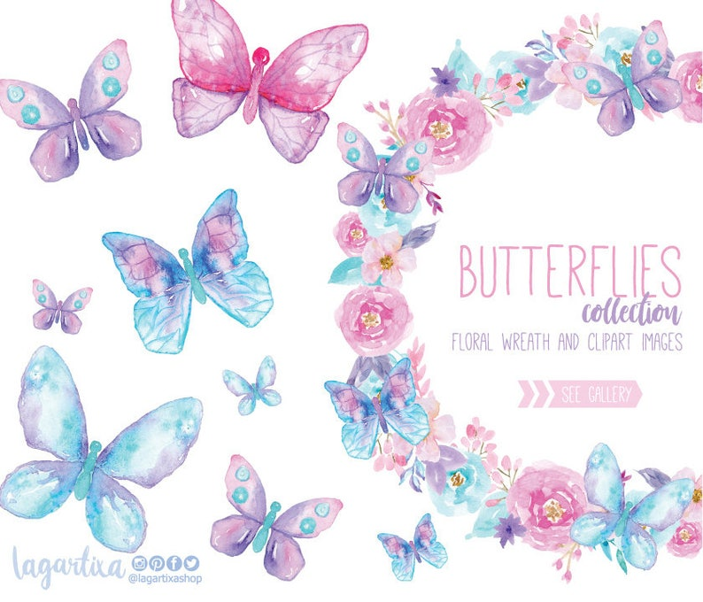 Watercolor Butterflies clipart, Butterfly PNG, floral wreath, png, wedding,  baby shower, digital art, bridal shower, for blog banner