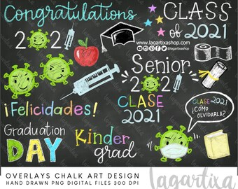 Class of 2021 Senior Overlays Graduation Day Chalk Drawn Designs Virus Vaccinated Pandemia Quarantine Funny clipart hand drawn toilet paper