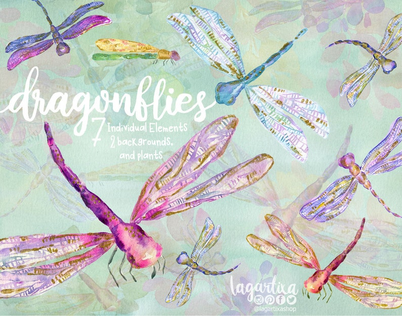 Dragonflies Watercolor and Gold paint PNG Clip art image 0