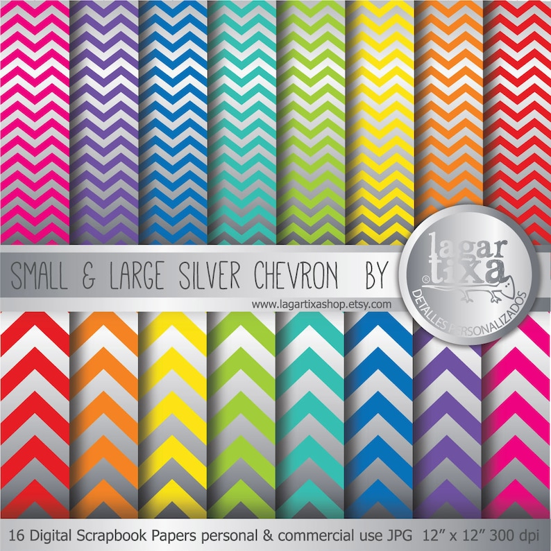 Silver Large Small Chevron rainbow Digital Paper Background image 0