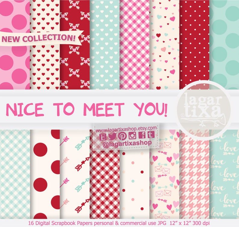 Be my Valentine St Valentine Patterns arrows backgrounds Valentine/'s Day Digital Paper pink february hearts In love mint red