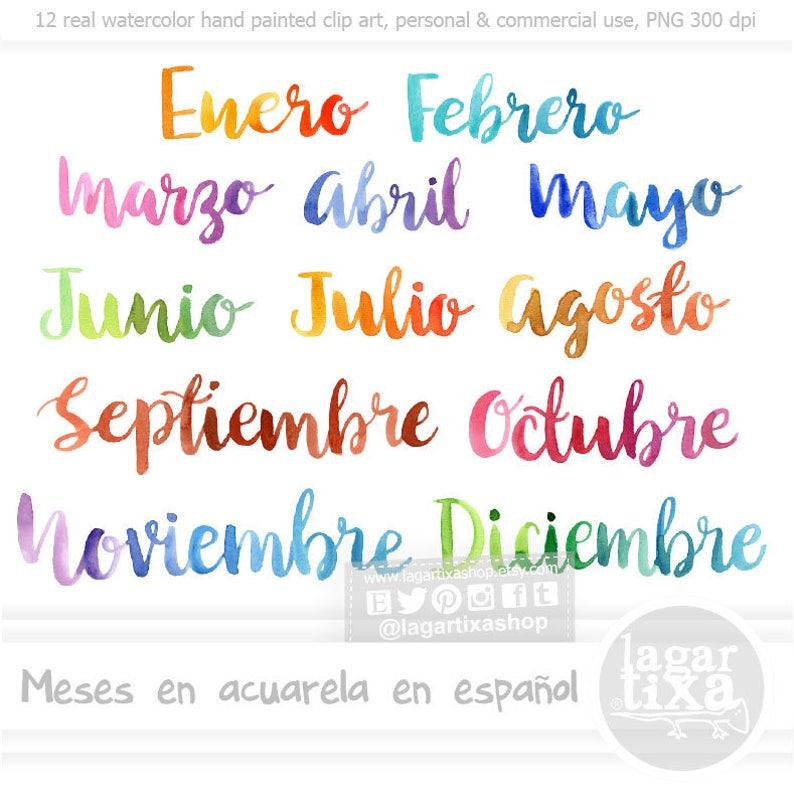 Meses Del Ano Espanol Letras En Acuarela Cursiva Png Clipart Etsy