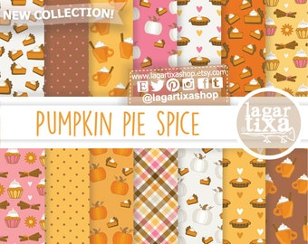 Pumpkin Spice, Pie, desserts, Hot Latte, Happy Autumn, pink, girly Digital paper, Patterns, fall, patterns, orange, polka dots, backgrounds
