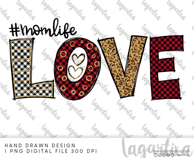 Cheeta Mom Life LOVE Sublimation PNG Image Mother's Day image 0