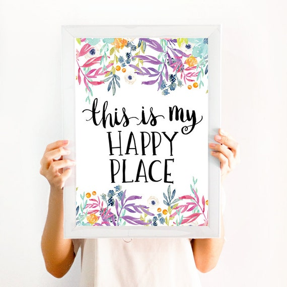this is my happy place quote wall art decor print etsy