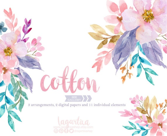 Floral clipart watercolor flowers png wedding bouquet etsy image 0 mightylinksfo